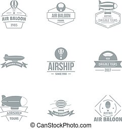 Airship logo set, simple style