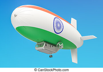 Airship or dirigible balloon with Indian flag, 3D rendering