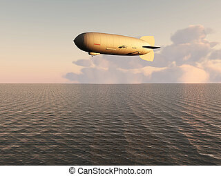 airship over the sea