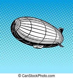 Airship pop art vector illustration