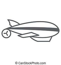 Airship thin line icon, Balloon festival concept, Aerostat ...