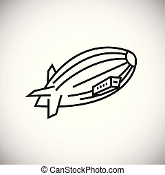 Airship thin line on white background