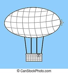 Airship with a basket for Aeronautics retro style