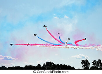 airshow, 飛行機, 形成
