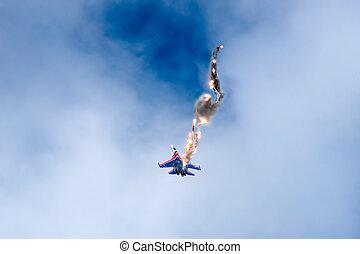 airshow, acrobazie aeree, compiendo, su-27