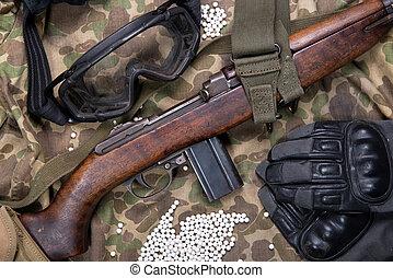airsoft, geweer, met, beschermende glazen, en, partij, van, kogels