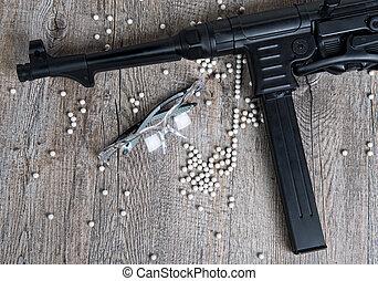 airsoft, geweer, met, bril, en, partij, van, kogels