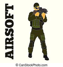 db7c254f96da airsoft, játékos, alatt, taktikai, felszerelés, hand-drawn, ábra