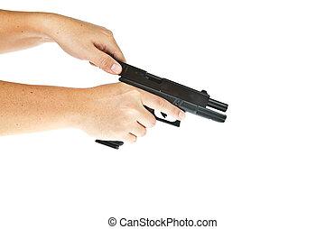 airsoft, overhandiig vuurwapen, glock, model, met, hand