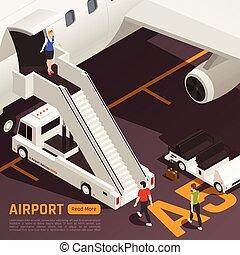 airstairs, lastwagen, flughafen, hintergrund