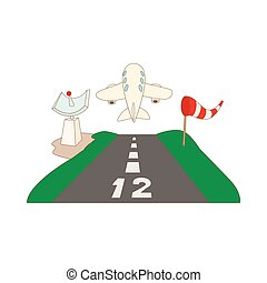 Airstrip with airplane icon, cartoon style