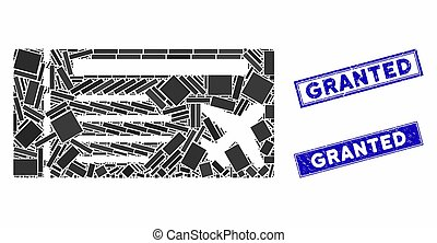 Airticket Mosaic and Scratched Rectangle Granted Stamp Seals