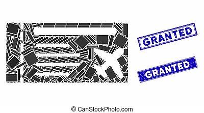 airticket, mosaico, francobollo, rettangolo, granted, sigilli, graffiato