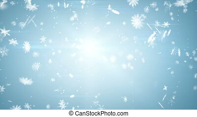 airy snowfall on blue. computer generated seamless loop abstract motion background. HD 1080p