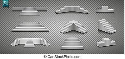 aislado, 3d, fondo., vector, podio, ilustración, pedestal., ...