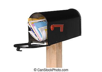 aislado, abierto, caja correo, con, correo