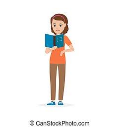 aislado, adulto, hembra, persona, libro de lectura, blanco