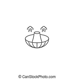aislado, alimento, caliente, icono, vector, símbolo, olla, plano de fondo, blanco