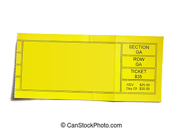 aislado, amarillo, acontecimiento, cabo, plano de fondo, boleto, blanco