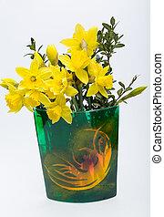 aislado, amarillo, fondo., flores blancas, jonquil