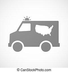 aislado, ambulancia, icono, con, un, mapa, de, el, estados unidos de américa