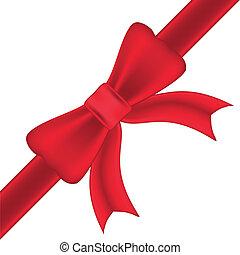 aislado, arco, plano de fondo, blanco, cintas, rojo