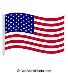 aislado, bandera, norteamericano