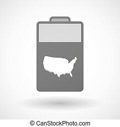 aislado, batería, icono, con, un, mapa, de, el, estados unidos de américa