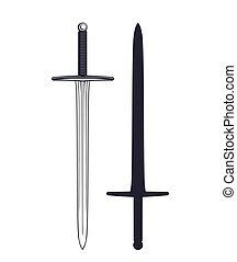 aislado, blanco, medieval, espada