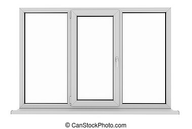 aislado, blanco, pvc, aluminio, ventana.