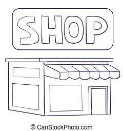 aislado, bosquejo, blanco, ilustración, tienda, vector, edificio, objeto, plano de fondo