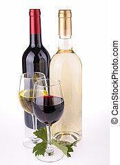 aislado, botella, y, vaso de vino