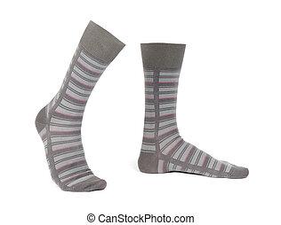 aislado, calcetines, plano de fondo, par, rayado, blanco