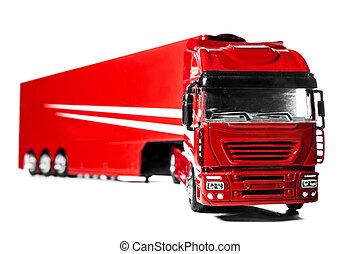 aislado, camión, plano de fondo, modelo, blanco, remolque