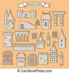 aislado, castillo, partes, piedra, caricatura