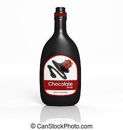 aislado,  chocolate, botella, blanco, jarabe,  3D