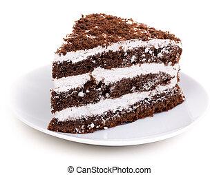 aislado, chocolate, fondo., pastel, blanco, pedazo