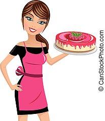 aislado, cocinero, mujer, frambuesas, pastel de queso