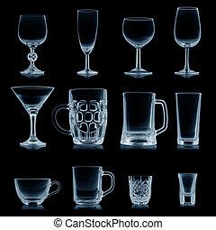 aislado, Colección, negro, limpio, cristalería, vacío