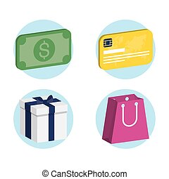 aislado, comercial, compras, conjunto, iconos