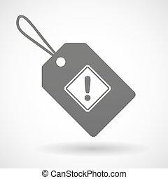aislado, compras, etiqueta, icono, con, un, advertencia, muestra del camino