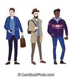 aislado, conjunto, characters., moderno, otoño, vector, clothes., casual, estudiantes, joven, ilustración, cubrir, calle, plano, moda, ropa de calle, caricatura, moderno, estilo