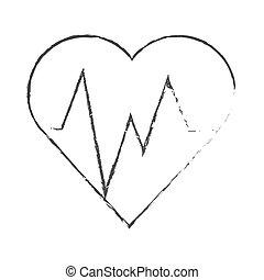 aislado, corazón, con, pulso, diseño