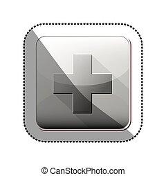 aislado, cruz, de, atención médica, diseño