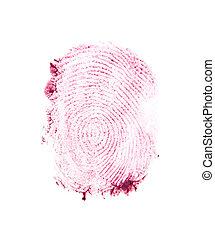 aislado, dedo, plano de fondo, impresión, rojo blanco
