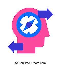 aislado, descubrimiento, creativo, vector, plano, solución,...