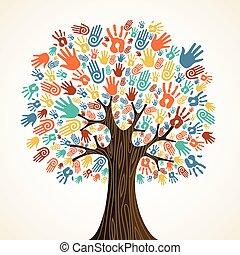 aislado, diversidad, árbol, manos