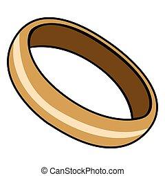 aislado, dorado, anillo