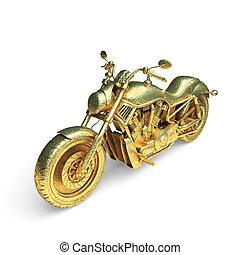 aislado, dorado, motocicleta