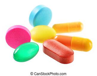 aislado, droga, píldoras, Plano de fondo, blanco,...